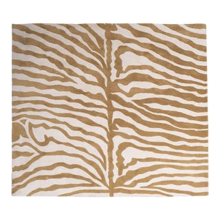 Beautiful Indian Modernist Zebra Print Rug in Wool