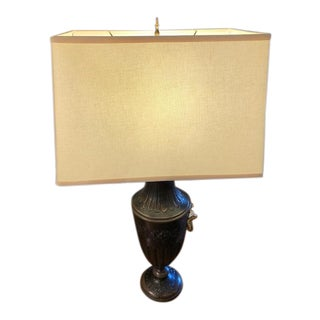 Empire Dark Brown Metal Toile Lamps With Linen Shades - a Pair For Sale