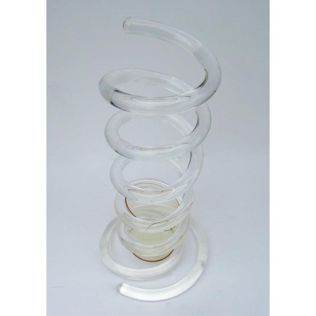"Plastic Mid-Century Dorothy Thorpe Tubular ""Infinity,' Swirled Lucite Umbrella Stand, Holder For Sale - Image 7 of 13"