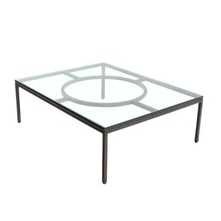 "Extra Large Wide Rectangle Bronzed Frame Modern Coffee Table 3/4"" Thick Glass For Sale"
