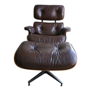 1970s Mid-Century Modern Eames Lounge Chair and Ottoman - 2 Pieces For Sale