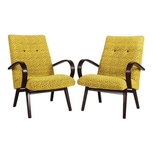 Mid-Century Czech Upholstered Chairs, 1960s - A Pair For Sale
