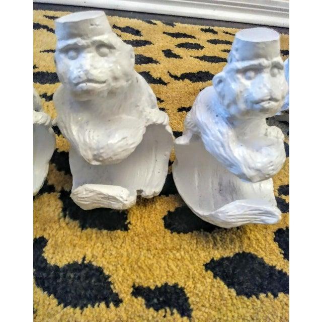 1990s Set of 4 Carved Whimsical Monkey White Drapery Pole Wall Holder Brackets For Sale - Image 5 of 6