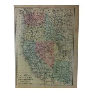 """Antique Mitchell's New School Atlas Map, """"Utah - Nevada - Arizona"""" by e.h. Butler & Co. Publishers - 1865 For Sale"""