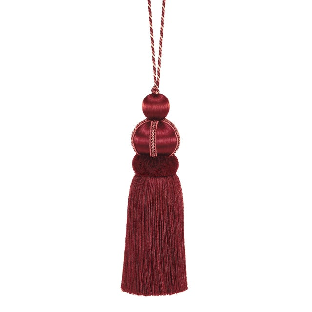 """Rouge Key Tassel With Cut Ruche - Tassel Height 5.75"""" For Sale"""