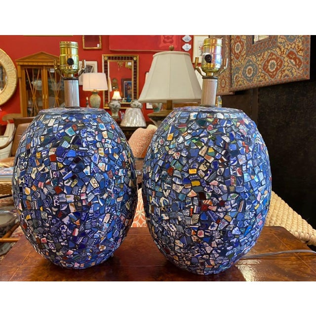 1990s Broken China Mosaic Lamps - a Pair For Sale - Image 13 of 13