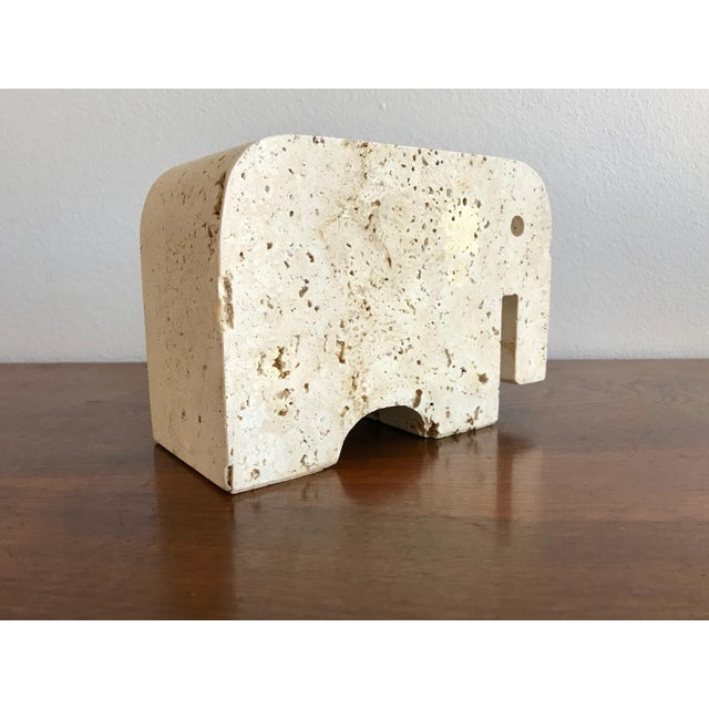 Italian Fratelli Mannelli Travertine Elephant Bookend For Sale - Image 3 of 11