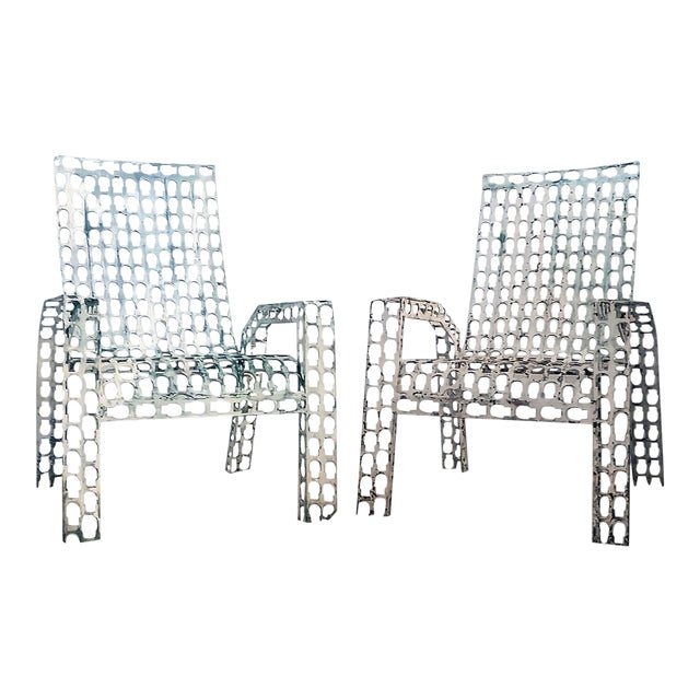 1970s Folk Art Pressed and Welded Steel Lounge Chairs - a Pair For Sale