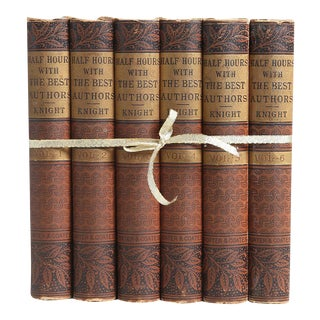 Antique Brown Book Collection of Best Authors - Set of 6