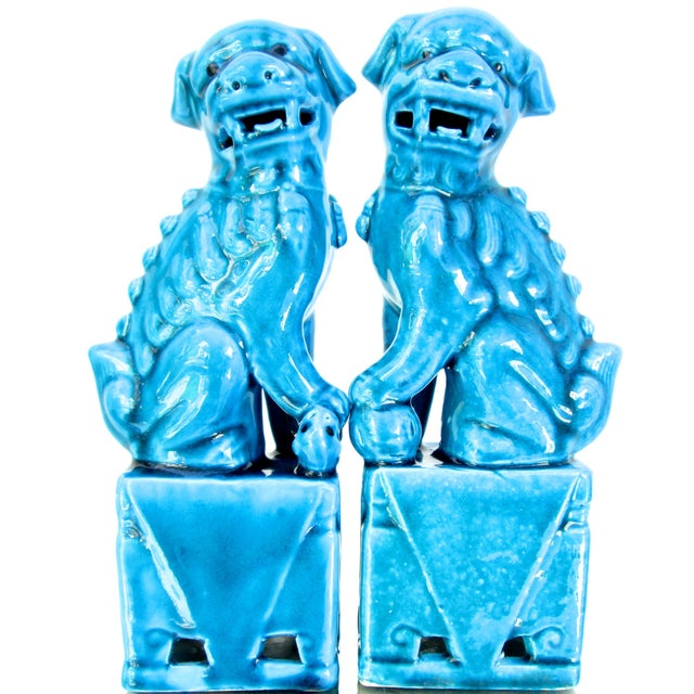 Turquoise Foo Dogs - A Pair - Image 1 of 10