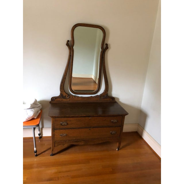 1940s 1940s Vintage Vanity With Mirror For Sale - Image 5 of 5