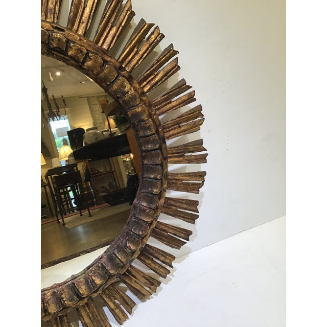 1960s Mid-Century French Sunburst Mirror For Sale - Image 4 of 7