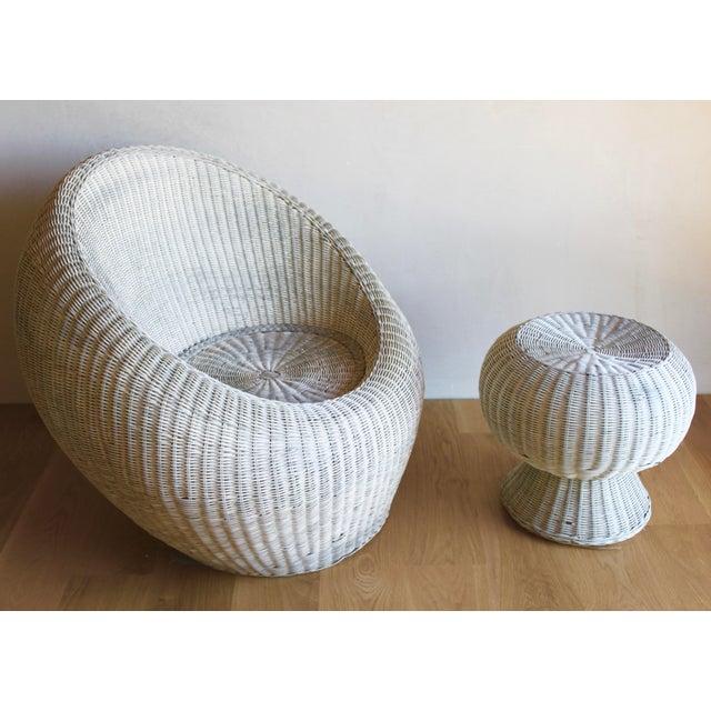 Wicker Isamu Kenmochi for Yamakawa Japan Rattan Lounge Chair & Side Table For Sale - Image 7 of 13