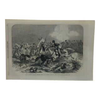 """1860 Antique London Illustrated News """"War in Morocco - Conflict Between Moorish and Spanish Cavalry"""" Print For Sale"""