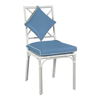 Haven Outdoor Dining Chair, Sapphire and White For Sale