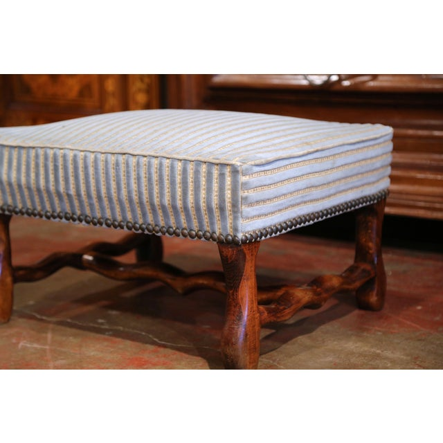 Wood Early 20th Century French Louis XIII Carved Mutton Bone Stool With Stripe Velvet For Sale - Image 7 of 9