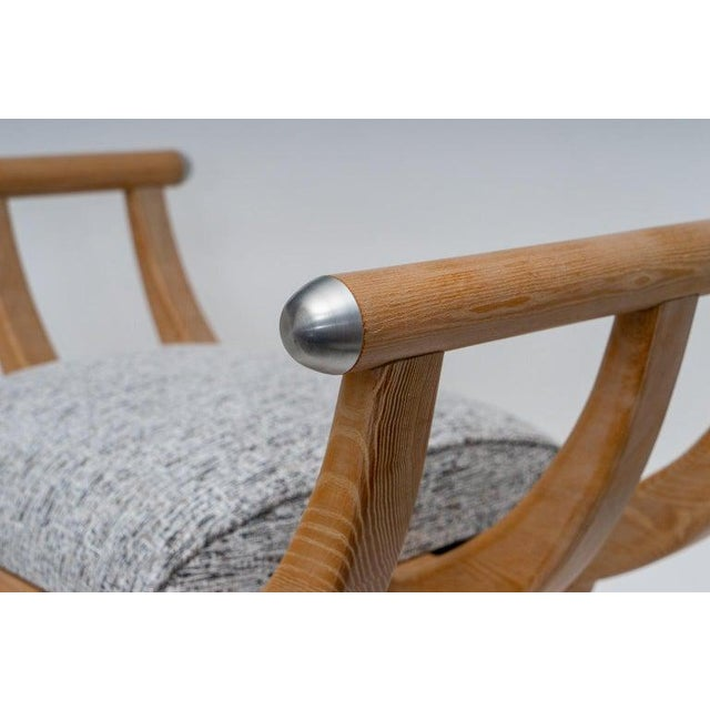 Custom Curule Bench in Oak and Stainless Steel For Sale - Image 4 of 12