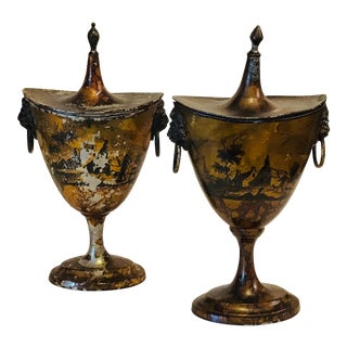 Early 19th Century Pair of Tole Chestnut Urns For Sale