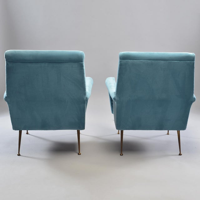 Mid-Century Italian Arm Chairs With New Sky Blue Upholstery - a Pair For Sale - Image 9 of 11