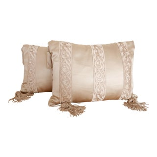 Gold Pillows With Embroidered Tape Trim - A Pair