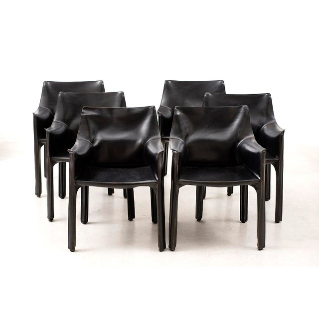 Mario Bellini Set of 10 Cab Chairs by Mario Bellini--6 Arm, 4 Side--In Black Leather, 1970s For Sale - Image 4 of 13