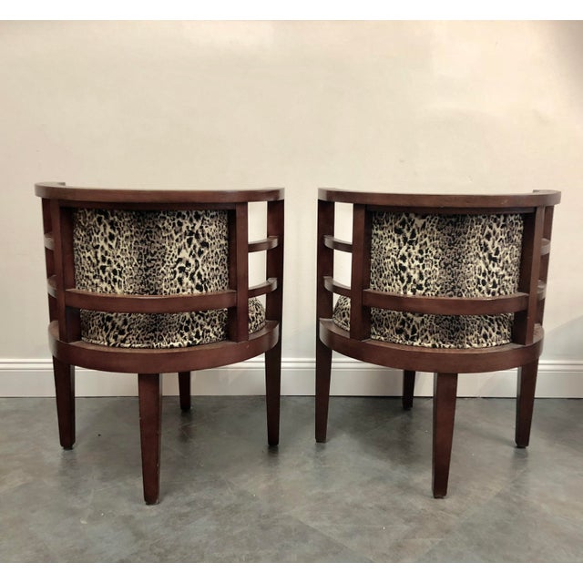 1990s Hollywood Glam Leopard Print Barrel Back Chairs - a Pair For Sale - Image 5 of 8