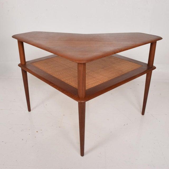 1950s France & Sons Peter Hvidt Corner Teak Cane Table Danish Modern Daverkosen For Sale - Image 5 of 9