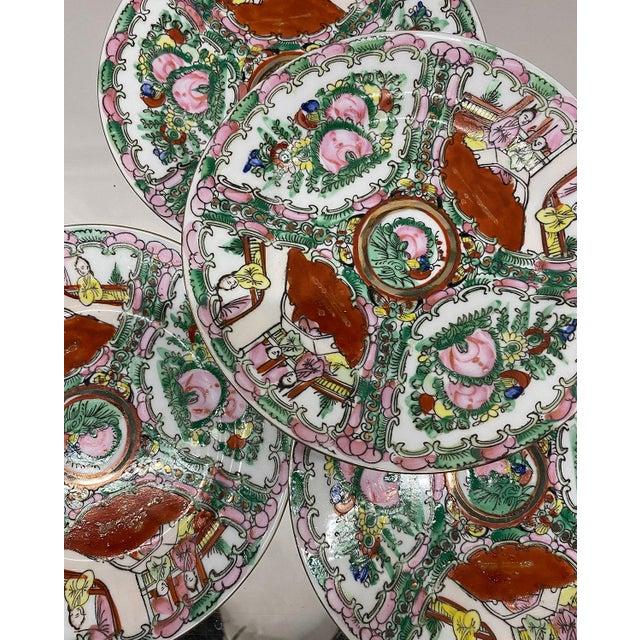 Vintage Small Rose Medallion Decorative Plates Set of 4 For Sale - Image 9 of 12