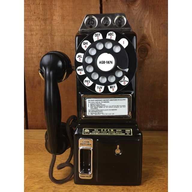 Vintage Jim Beam Payphone decanter. Hello the 1970s are calling! What a fun addition to any man cave or retro barware....