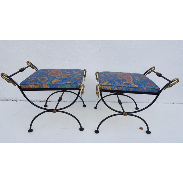 Italian Brass Swan Motif Stools - A Pair For Sale - Image 11 of 11