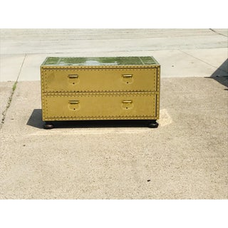 1960s Campaign Brass Sarreid Two-Drawer Studded Low Chest of Drawers Preview