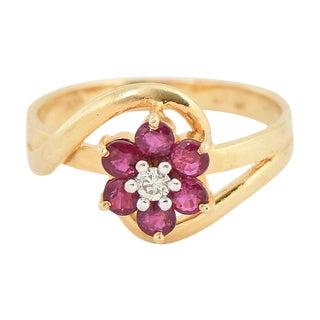 Ruby & Diamond 14k Gold Flower Ring For Sale