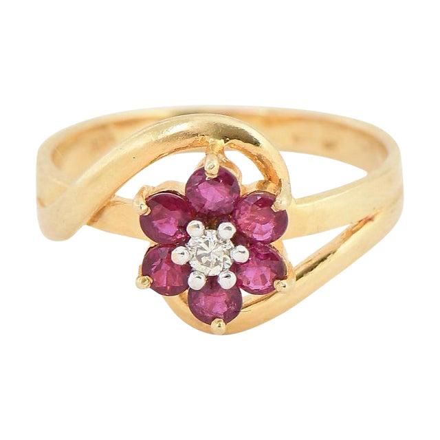 4806d43c1f5bd Ruby & Diamond 14k Gold Flower Ring