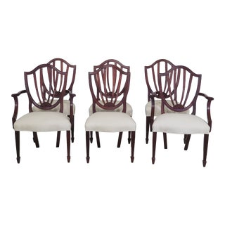1990s Vintage Baker Shield Back Dining Room Chairs- Set of 6 For Sale