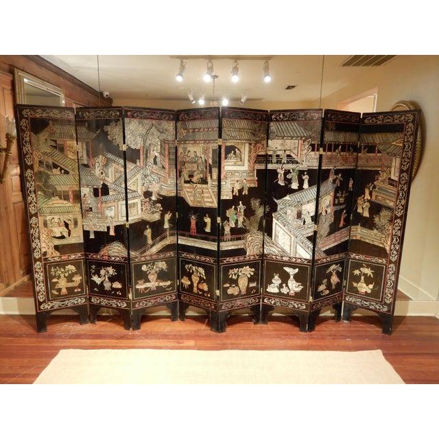 19th Century Coromandel Black 8 Panel Screen For Sale - Image 9 of 9
