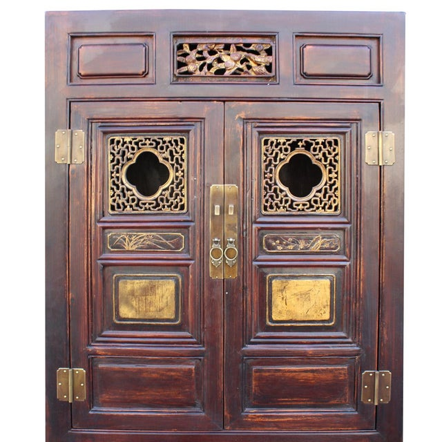 Chinese Fujian Brown Golden Carving Graphic Armoire Storage Cabinet For Sale - Image 4 of 7