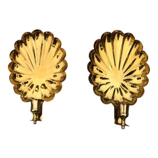 1990s Vintage Brass Shell Candle Wall Sconces - a Pair For Sale