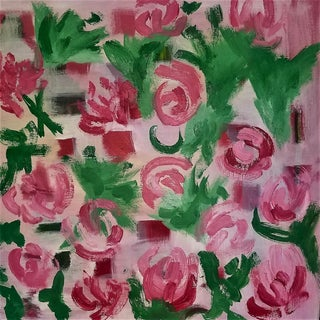 "Contemporary Oil Painting, ""Rose Garden"" by Christine Frisbee For Sale"