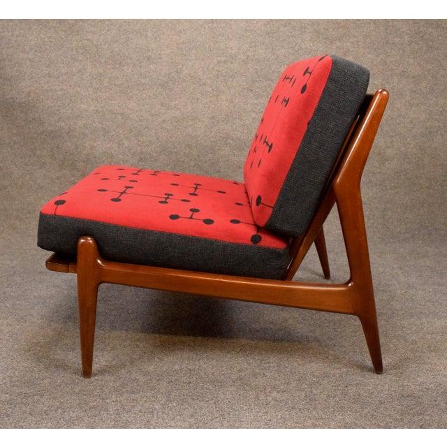 Selig 1960s Mid Century Modern Kofod Larsen for Selig Red and Black Slipper Chair For Sale - Image 4 of 13