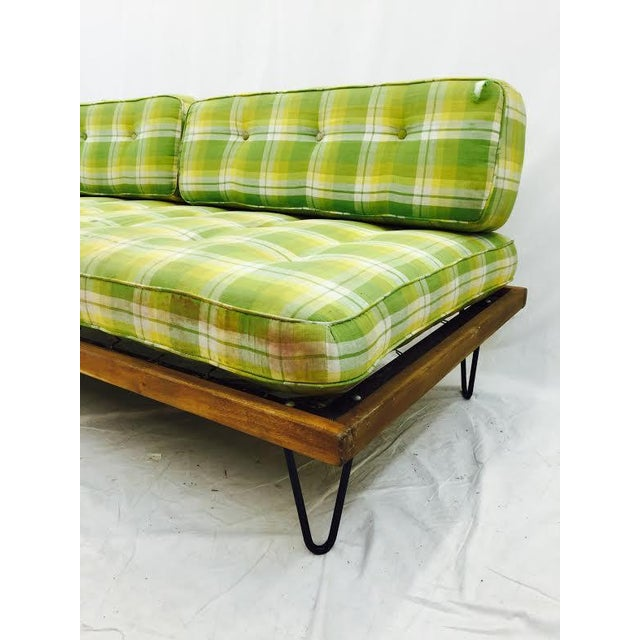 Mid-Century Madras Daybed with Metal Hairpin Legs For Sale - Image 5 of 6