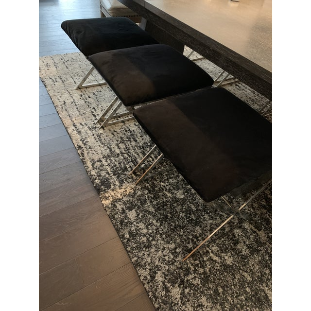 Made Goods Microsuede Chrome X Bench Stools - Set of 6 For Sale - Image 9 of 12