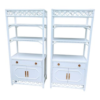 Ficks Reed White Rattan Palm Beach Regency Etagere Cabinets- a Pair