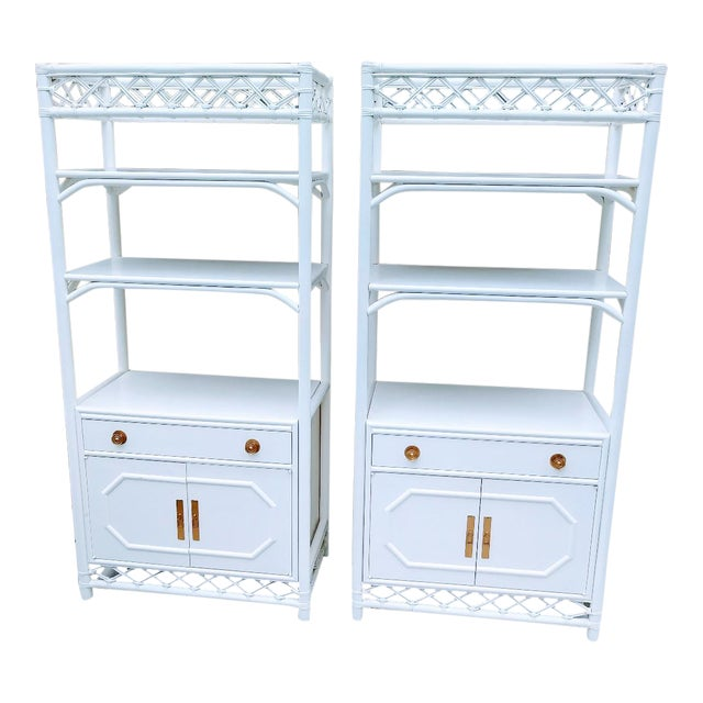 Vintage Ficks Reed White Rattan Palm Beach Regency Etagere Tall Display Cabinets- a Pair For Sale