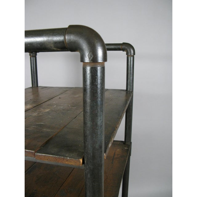 1950s Antique 1950s Industrial Cast Iron Rolling Cart Bookcase For Sale - Image 5 of 8