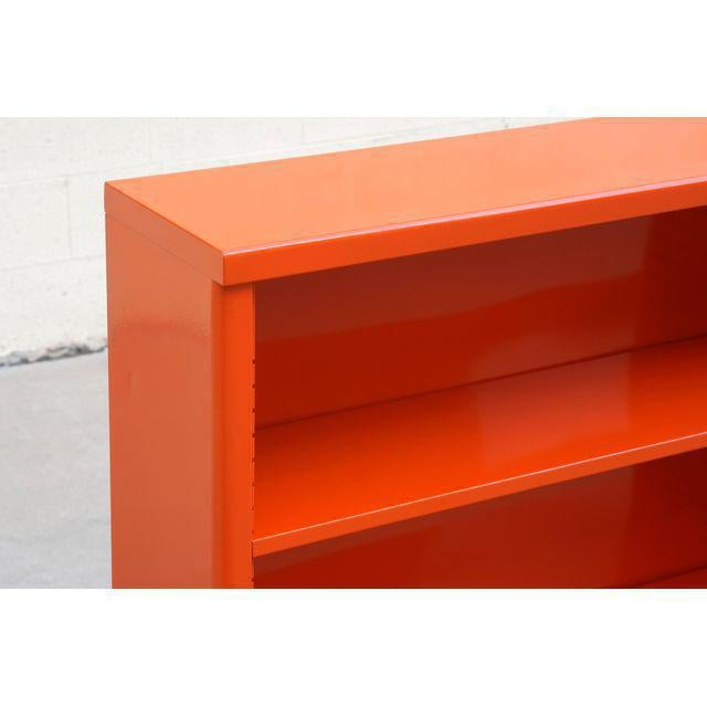 1960s Steel Tanker Style Bookcase in Orange, Custom Refinished For Sale - Image 4 of 6