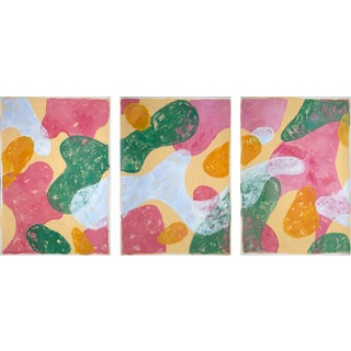 """""""Colorful Pastel Flourish"""" Contemporary Abstract Painting Triptych by Natalia Roman - Set of 3 For Sale"""