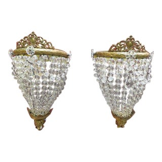 Antique French-Style Brass & Crystal Sconces - A Pair