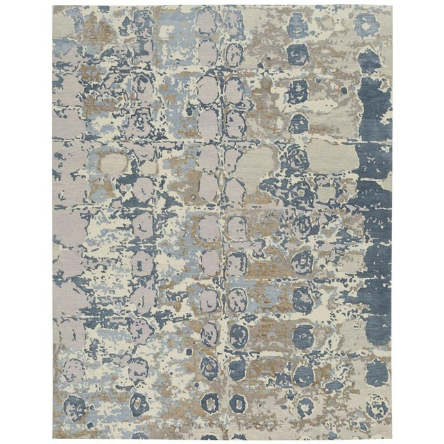 Abstract organic pattern in a hand-knotted wool & silk Tibetan rug. Custom orders for size, color and shape available.