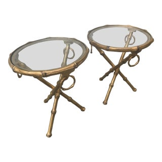 Phyllis Morris Style Faux Bamboo Brass Side Accent Tables - a Pair For Sale
