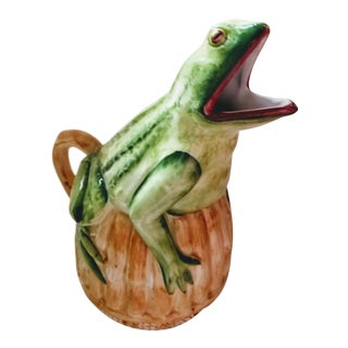Vintage Majolica Whimsical Italian Frog Pitcher, Faux Bamboo For Sale